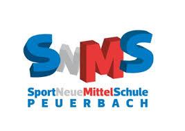Logo SNMS Peuerbach. SportNeueMittelSchule Peuerbach.