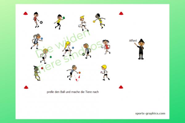 Ballspiel. Kinder prellen mit einem Ball und müssen dabei verschiedene Tiere nachmachen.