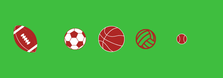Football. Fußball. Basketball. Volleyball. Tennisball.