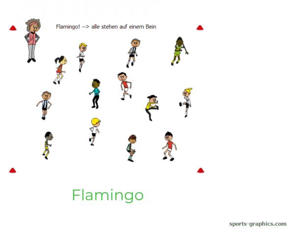 Laufspiel für den Sportunterricht. Flamingo.