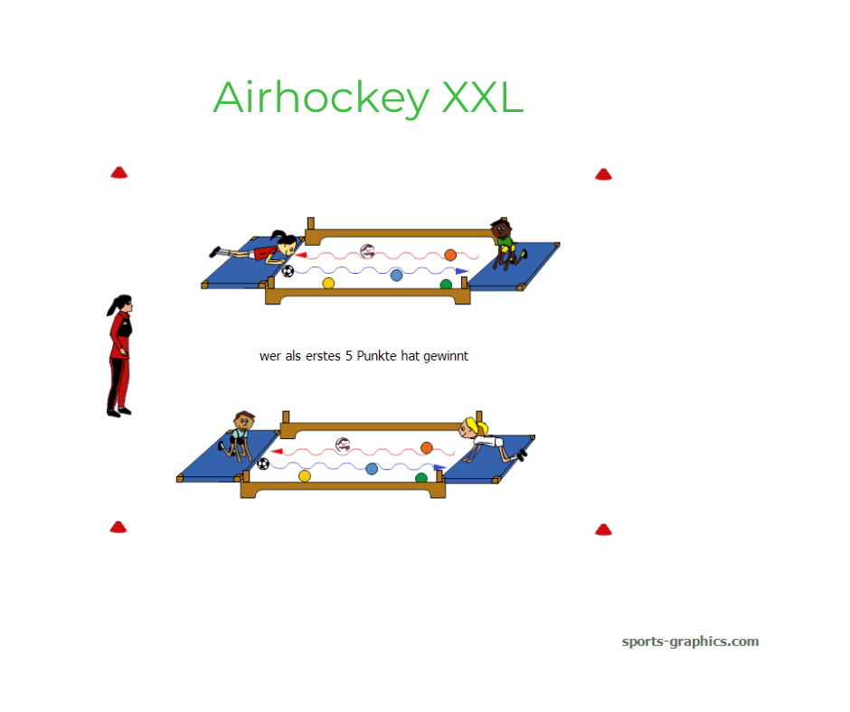 Reaktionsspiel für den Sportunterricht. Airhockey XXL